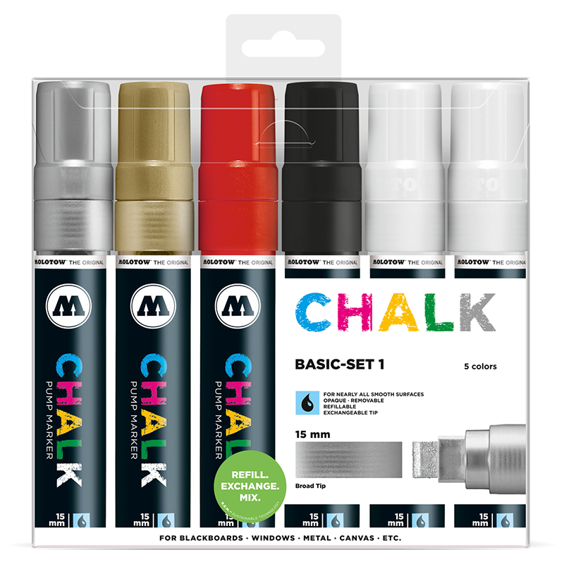 Chalk Marker 15mm 6x - Basic-Set 1 Clearbox
