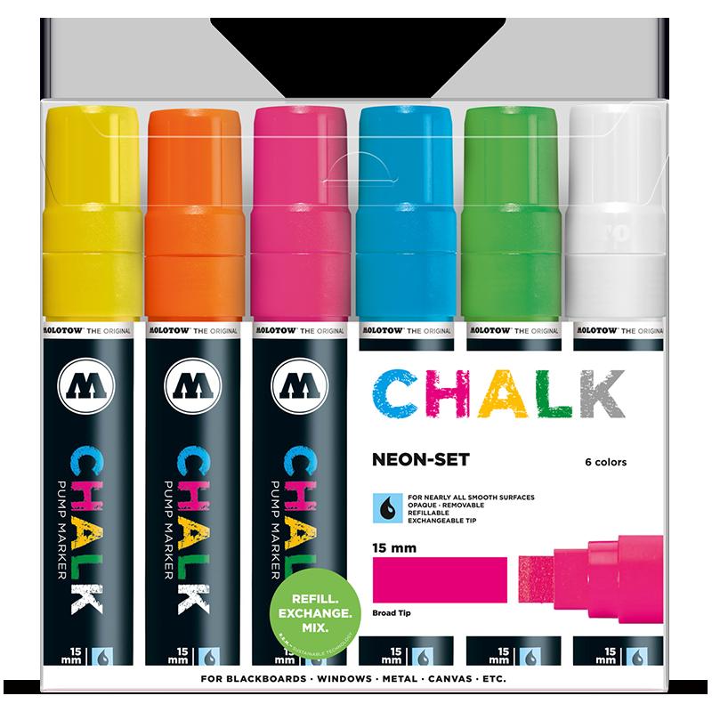 Chalk Marker 15mm 6x - Neon-Set Clearbox