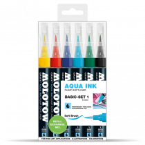 Aqua Ink Pump Softliner 1mm soft brush 6x - Basic-Set 1 - Clear box