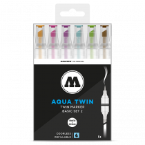 AQUA TWIN 1mm brush / 2-6mm chisel - Basic-Set 2 - clear box