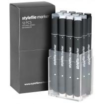 STYLEFILEMARKER 12 neutral grey set