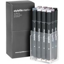 STYLEFILEMARKER 12 warm grey set