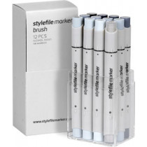 Stylefile Marker Brush 12er Set Cool Grey