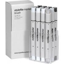 Stylefile Marker Brush 12er Set Neutral Grey